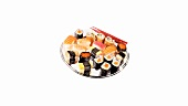 Assorted sushi on a tray
