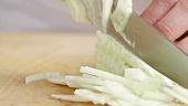 Slicing fennel finely