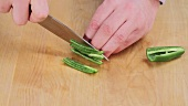 Finely chopping jalapeno chilli