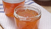 Orange marmalade in jars