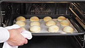 Baked scones being removed from the oven