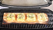 Grilling salmon on ceder wood (US-English voice-over)