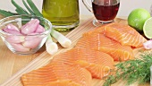 Salmon fillets and ingredients for marinade
