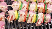 Meat and vegetable kebabs on a grill