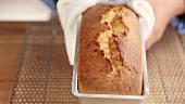 A freshly baked loaf cake