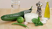 Ingredients for cucumber and yogurt soup