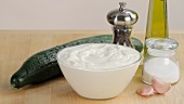 Ingredients for tzatziki (cucumber yogurt, Greece)