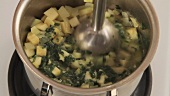 Ramsons and vegetables cooked in stock being puréed