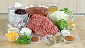 Ingredients with chilli con carne
