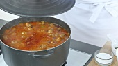 Chilli con carne simmering in a pot