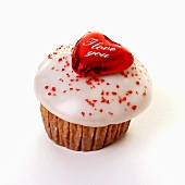 Iced muffin with chocolate heart