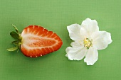 Sliced strawberry by blossom