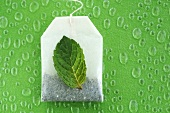 Tea bag and mint leaf