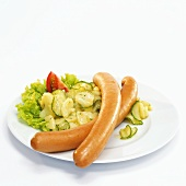 Wiener with potato salad, close-up, elevated view