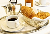 Breakfast: croissants, coffee and jam