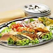 Cold fish platter with shrimps