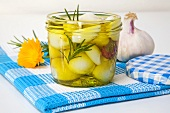 Pickled garlic with rosemary