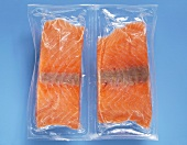 Frozen salmon Fillet vaccuum packed, elevated view