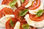 Tomatoes with mozzarella and basil (detail)