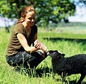 Young woman feeding a lamb