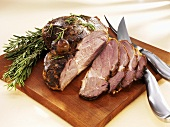 Roast leg of lamb, partly carved