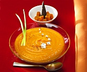 Cream of pumpkin soup with poppy seeds