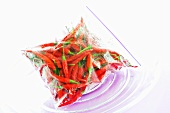 Red chillies in plastic bag