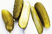 Pickled gherkins, whole and halved