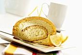 Sponge roll with lemon cream filling