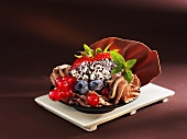 Mousse au chocolat with berries