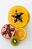 Papaya, pomegranate, orange and kiwi fruit (half of each)