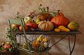 Pumpkin still life on garden table