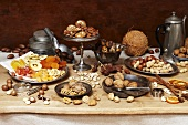 Nut still life with dried fruit and biscuits