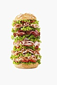 Giant ham, sliced sausage and lettuce sandwich
