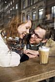 A couple in a café