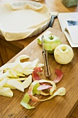 Peeled apples for apple tart