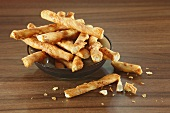 Cheese straws in a dish