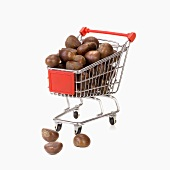 Toy shopping trolley full of chestnuts