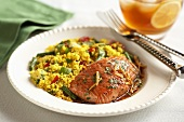 Salmon in Miso Sauce with Vegetable Couscous
