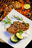 Barbecued lamb chop with cucumber and garlic & olive cream