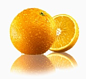 Whole orange and half an orange