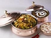 Indian cuisine: Biryani (rice dish), Dal makhani (lentil dish), Boondi raita (chick-pea balls in yoghurt sauce)
