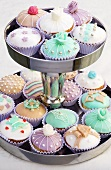 Assorted cupcakes on tiered stand