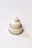Two-tiered petit four with rose