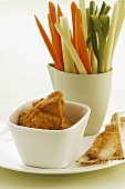 Vegetable sticks with carrot dip