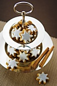 Cinnamon stars on tiered stand