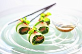 Tortilla rolls filled with salmon and chives