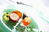Poached chicken roulade with tamarind sauce