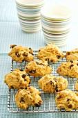 Pumpkin cookies on cake rack