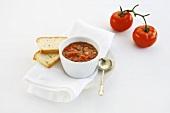 Tomato salsa and white bread